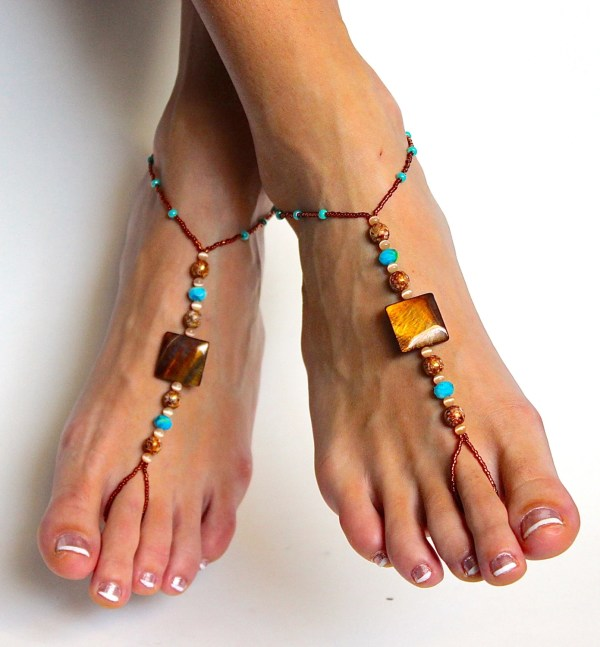 Stunning Boho Chic Beaded Barefoot Sandals Foot Baresandals
