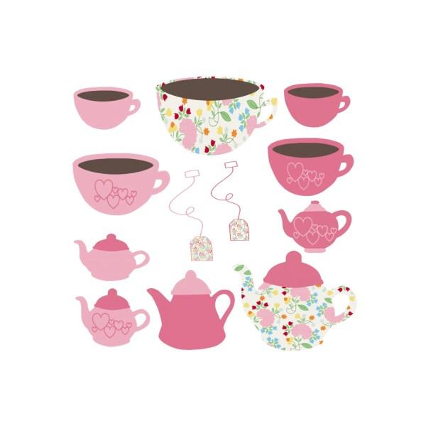 Tea Party Clipart Pink Garden Flowers Heart Cup Clip Art