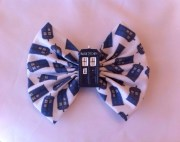 police box fabric hair bow large