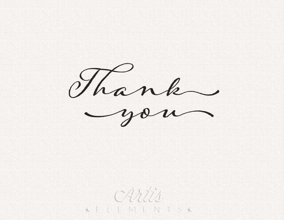 Thank You Typography Script Printable for Cards Digital