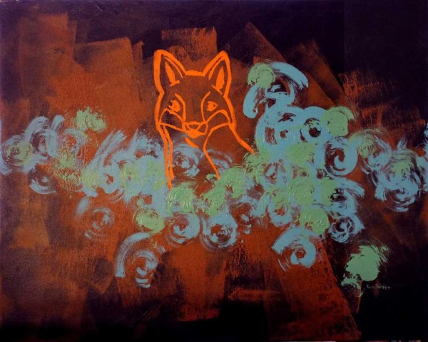 Free Shipping Red Fox Abstract Stencil Painting Kmwatkins