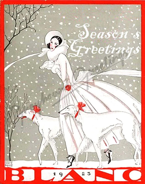 Art Nouveau Sighthound Seasons Greetings Cards Set Of