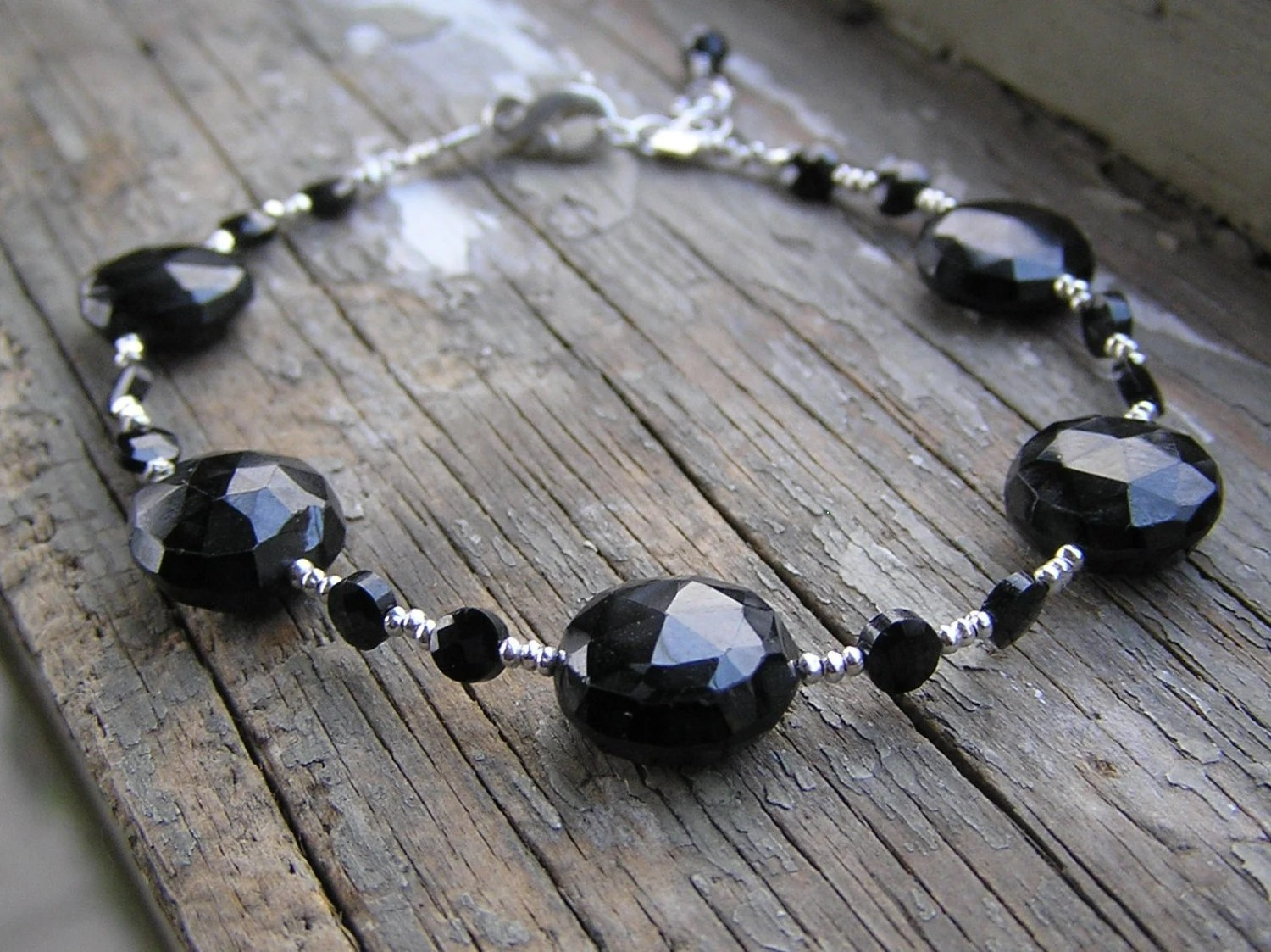 Faceted Spinel Disc Hill Tribe Fine Silver Gemstone Bracelet - irishbabies
