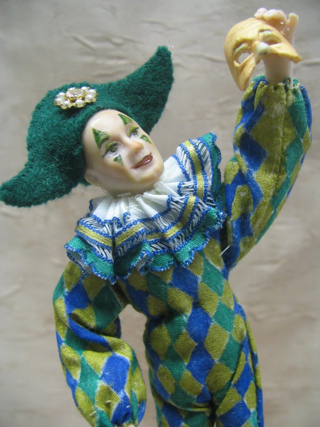 Harlequin from the Comedy d' Arte as a Miniature Porcelain Clown Doll sculpted by artist Kay Brooke - KaysStudio