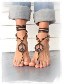 Peace Sign Barefoot Sandals Black And Gold Gypsy