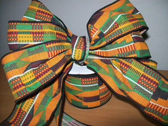 25 inch kente  2 ribbon roll African ribbon wholesale