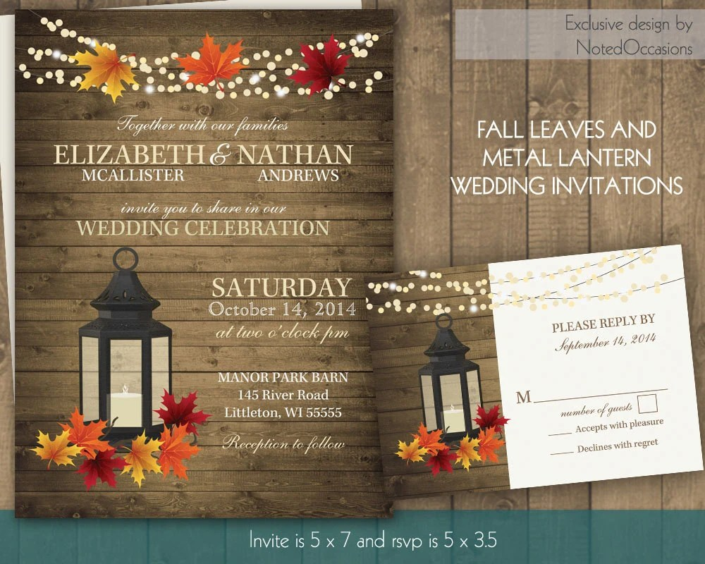 Rustic Fall Wedding Invitation Set with Lantern by NotedOccasions