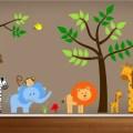 Theme nursery wall decal jungle bedroom art reusable playroom wall
