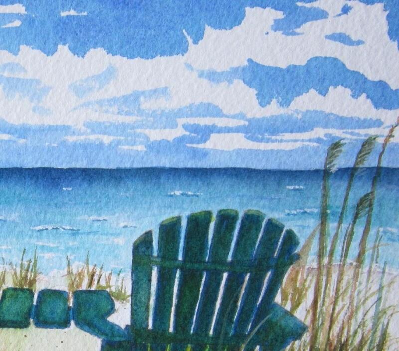 Beach Painting Beach Chair Art Print Beach by