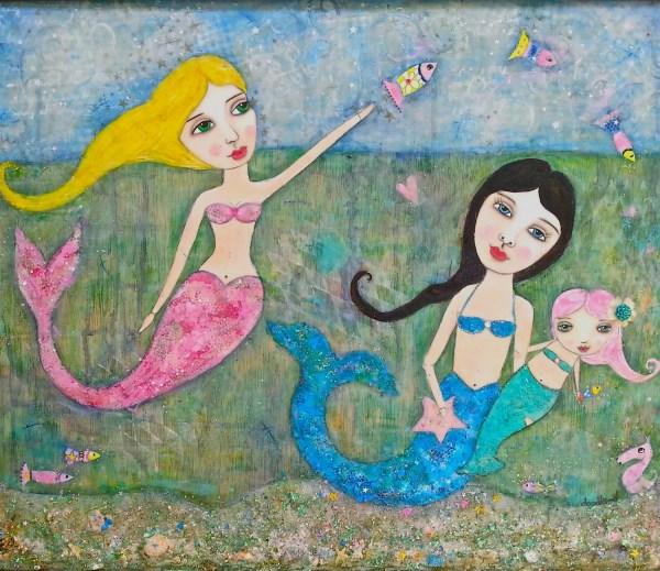 Playful Mermaids Art Print Of Original Painting