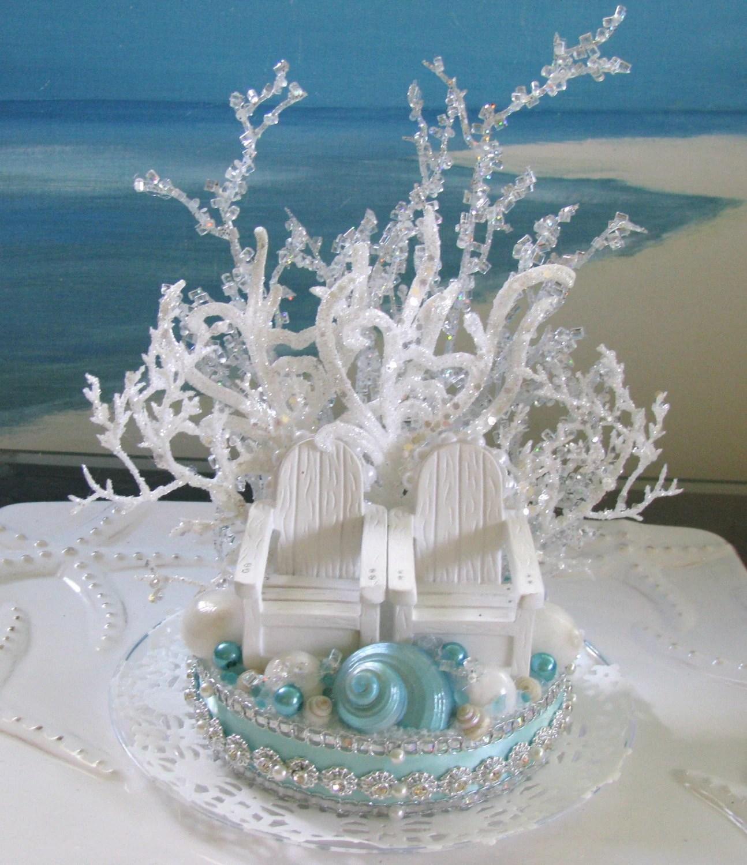 adirondack chair cake topper best deer blind chairs beach wedding seashell