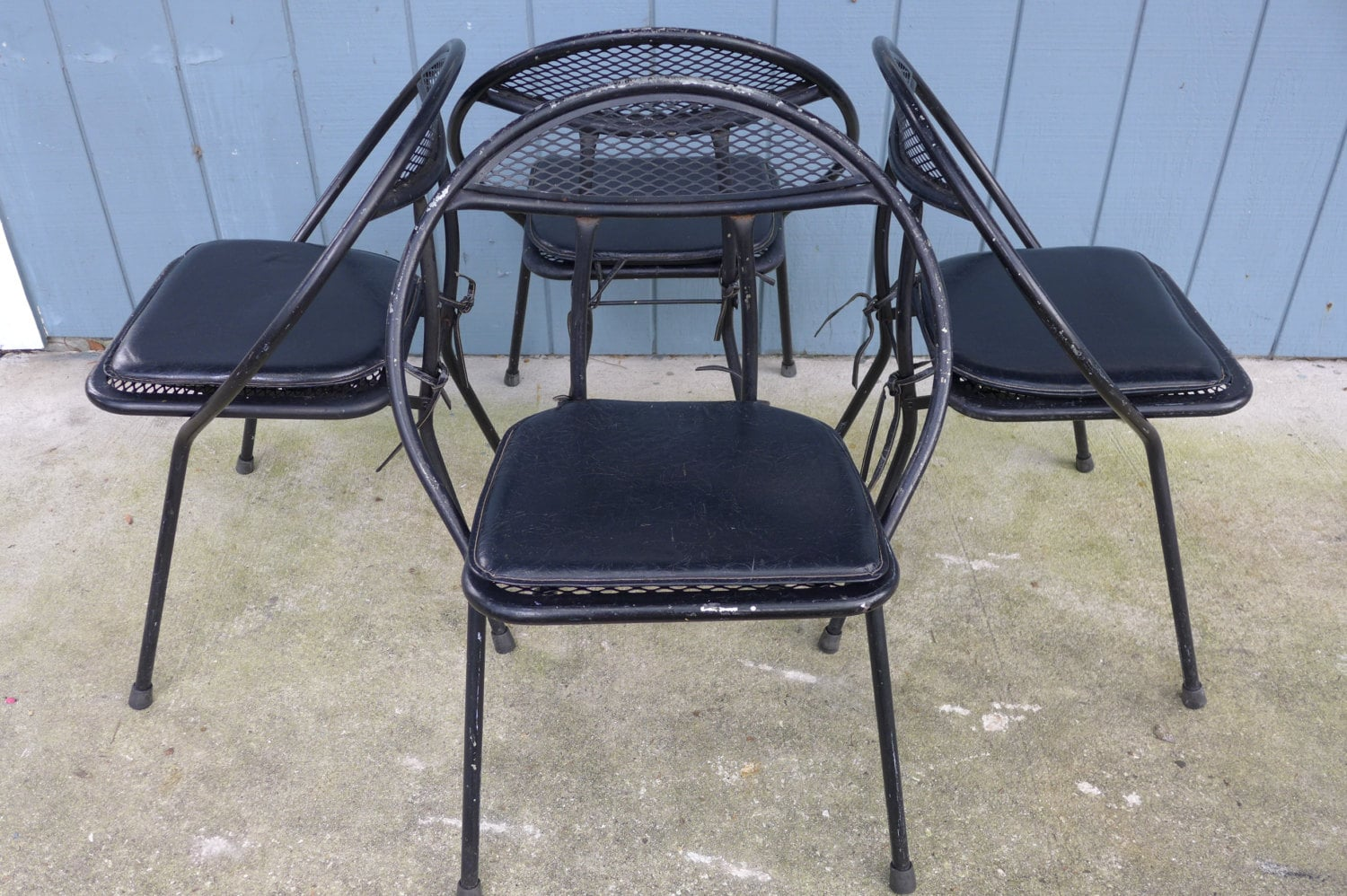 Mesh Patio Chairs Set Of 4 Folding Patio Chairs Salterini Style Mesh Orb Black