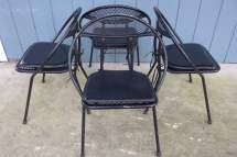 Set Of 4 Folding Patio Chairs Salterini Style Mesh Orb Black