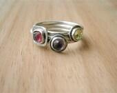 Stacking oxidized rings, sterling silver stack rings,hammered band, natural gemstone, size 6 1/4 metalwork artisan handmade by pepamoyano - PepaMoyano
