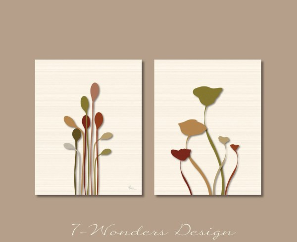 Modern Floral Art Print Set Poppies And Reeds Silouettes