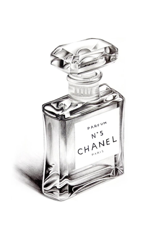 Chanel No5 Perfume Bottle A5 Colour Pencil by DominiqueKirkby