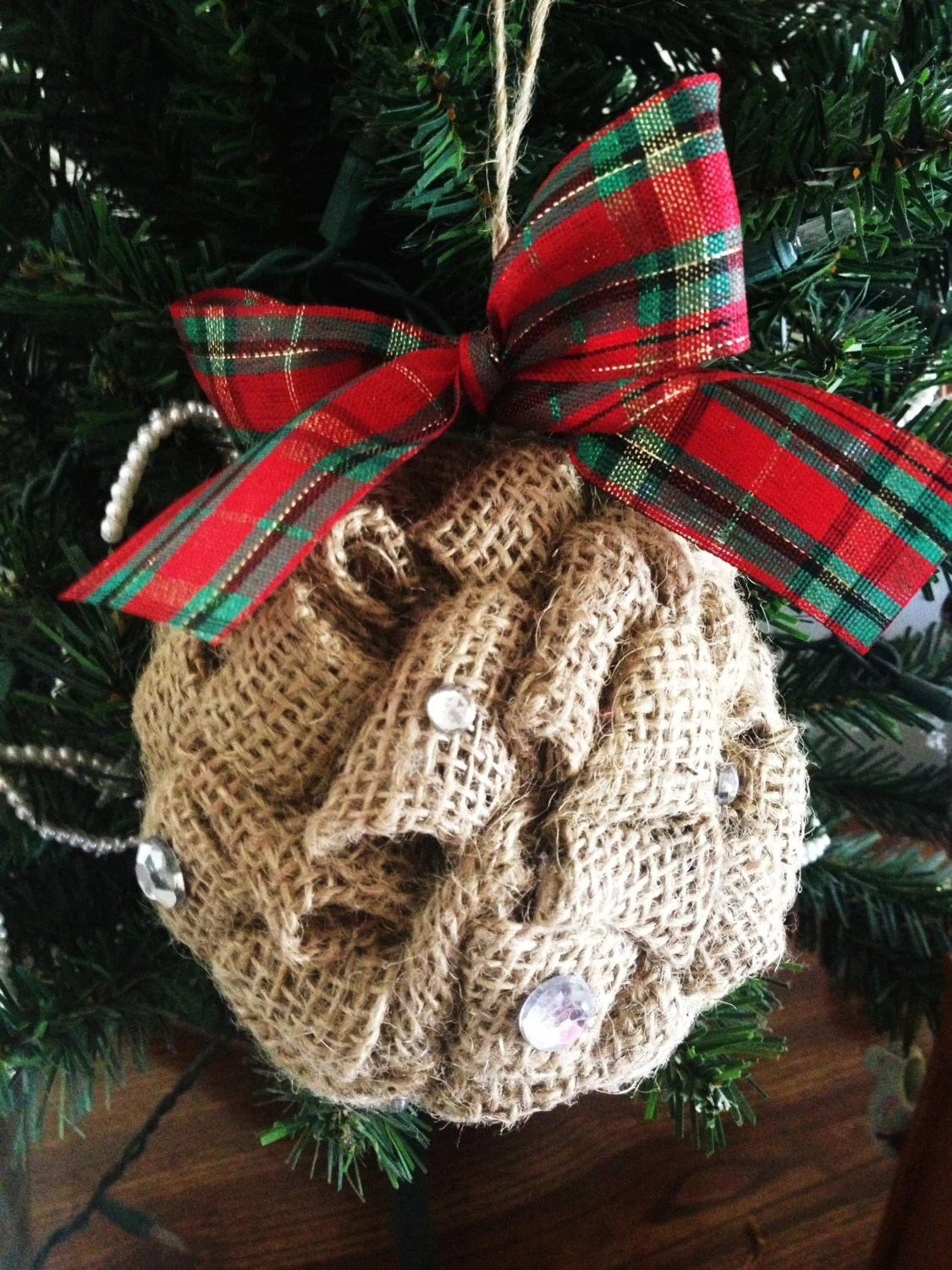 Burlap Ornament With Rhinestones Cute Holiday By