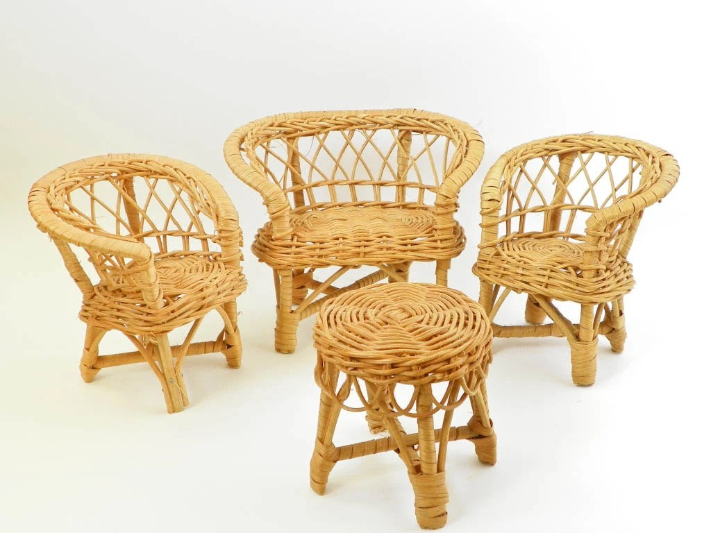 Miniature Chairs Miniature Wicker Doll Furniture Chairs Loveseat Couch Table
