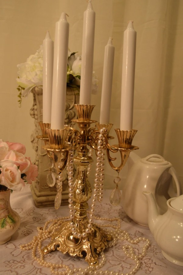 Vintage Romantic Brass Candelabra With Antique Prisms