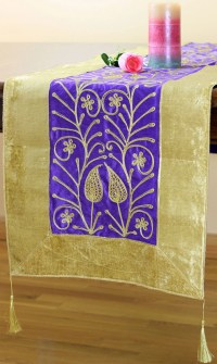 Velvet Floral Embroidered Table Runner Purple 70 X