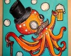 "8x8"" art PRINT of Sir Octopus Fancy Acrylic Painting w/ Beer, Mustache, Top Hat, and Cane"