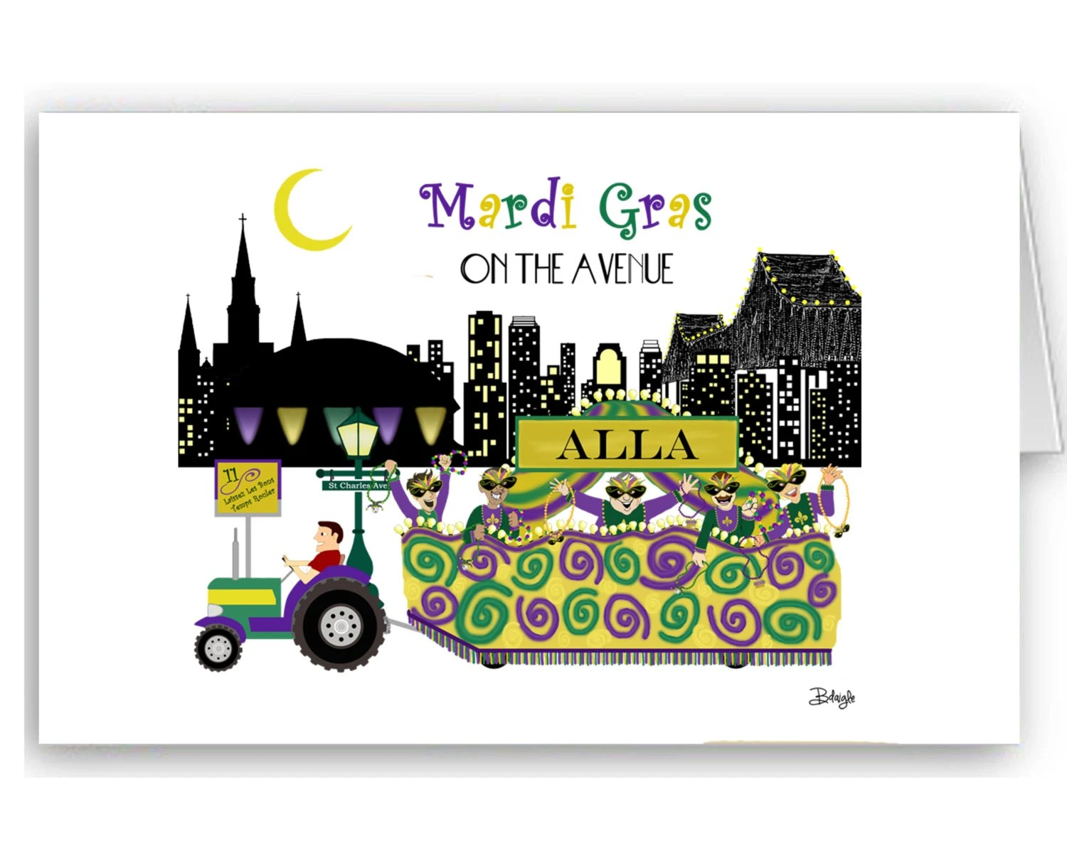 Mardi Gras Float - Card Set - New Orleans Graphics: MG on Ave - (10) 5x6.7 in Folded Cards - Men's Krewes - 13 Krewes from which to choose