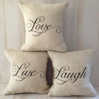 For Donna LIVE LAUGH LOVE Pillow Set in Ivory Burlap