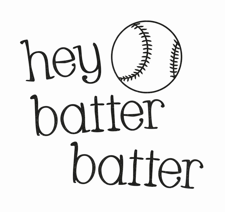 Hey Batter Batter With Baseball Glitter by