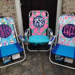 Lilly Pulitzer Chair Folding Highchairs For Babies Uk Hand Painted Inspired Monogram Beach By