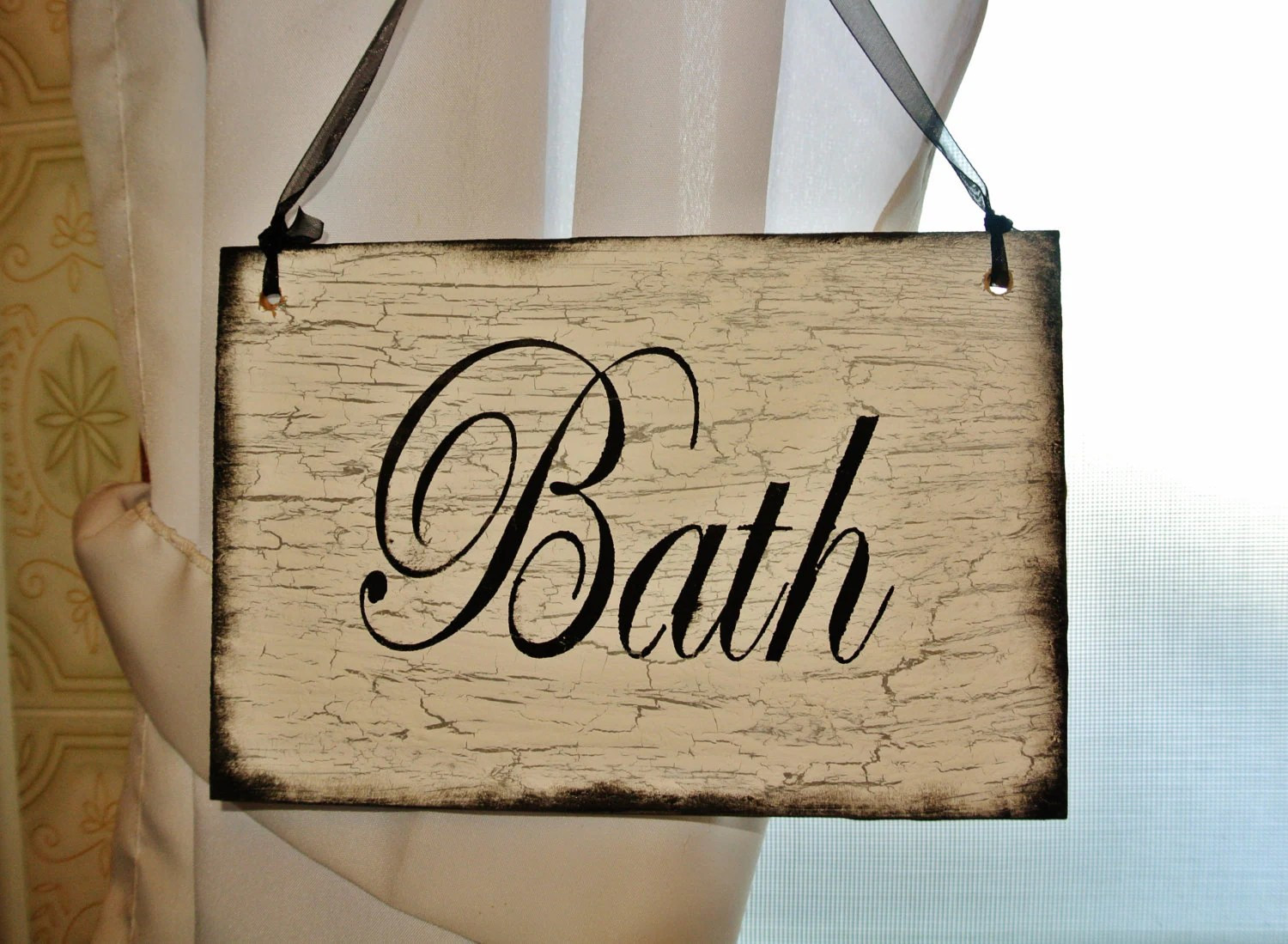 Bath Wood Sign bathroom decor shabbyvintageantiqued home