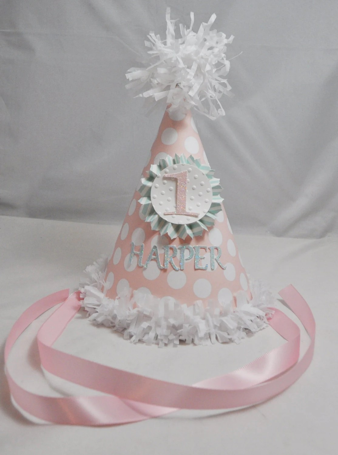 Shabby Chic Party Hat 1st Birthday Girl Personalized
