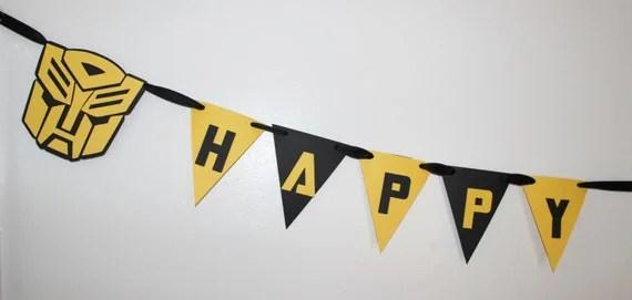 Transformer Happy Birthday Banner Bumblebee