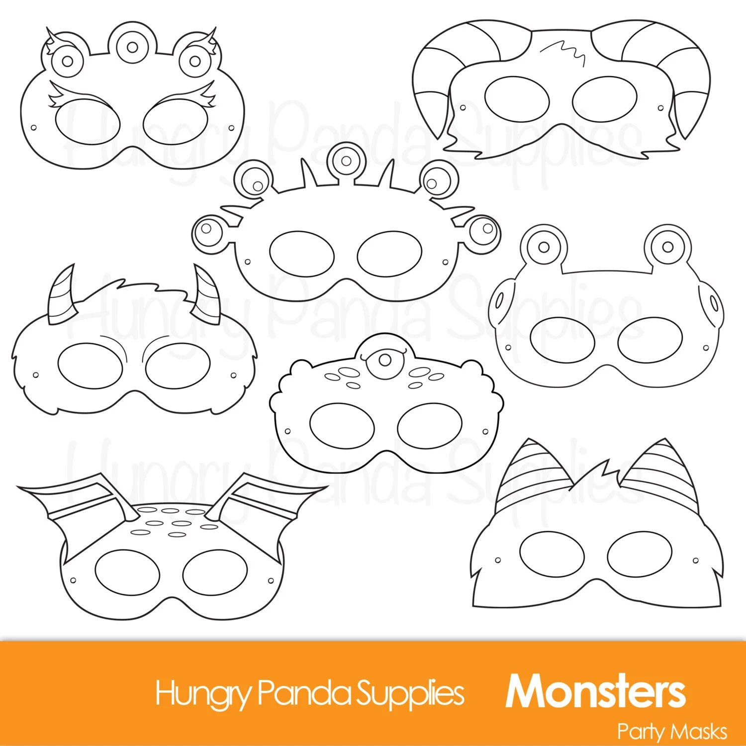 Monster Printable Coloring Masks Halloween Masks Monsters