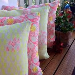 Neon Pink Chair Windsor And Table Set Hand Printed Original Design Linen Cushion Orbit