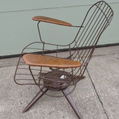 Mid Century Modern Wire Chair Car Seat Office Chairs Uk Vintage Eames Era Brown