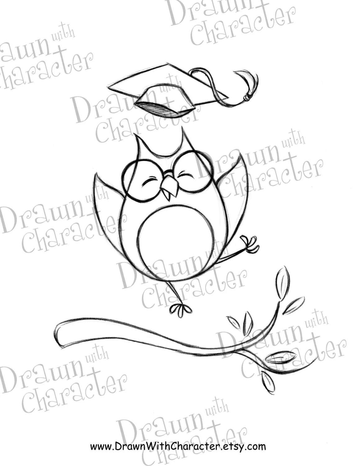 Excited Owl Graduate Digital Stamp/ KopyKake Image