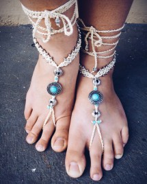 Barefoot Sandals Southwest Blues Macrame Crochet Foot Jewelry