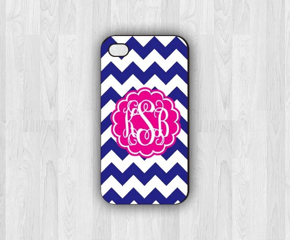 Blue Chevron Flower case - Personalized iPhone case - iPhone 4/4s - iPhone 5/5s  - Monogram iPhone case - stocking stuffer - christmas gift - icases4u