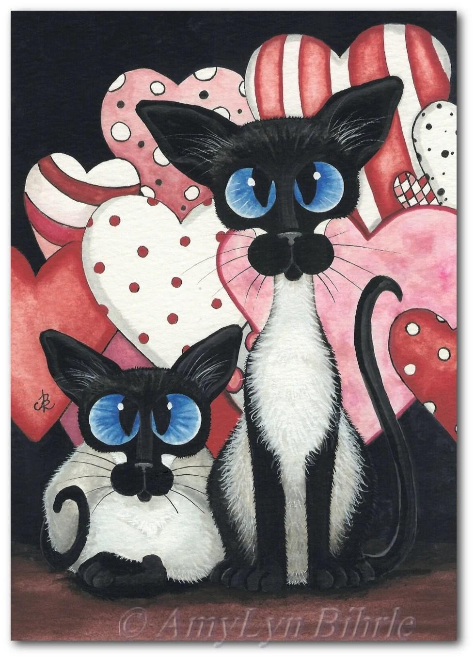 Siamese Cat Valentine Hearts Love Art Prints By Bihrle Ck332