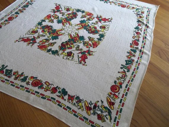 Vintage Mexican Folk Art Tablecloth
