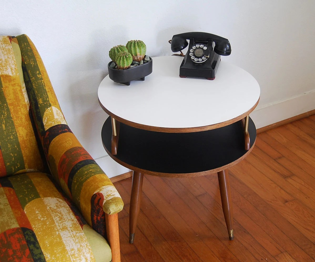 Mid Century Modern Two Tier Wooden Side Table With By