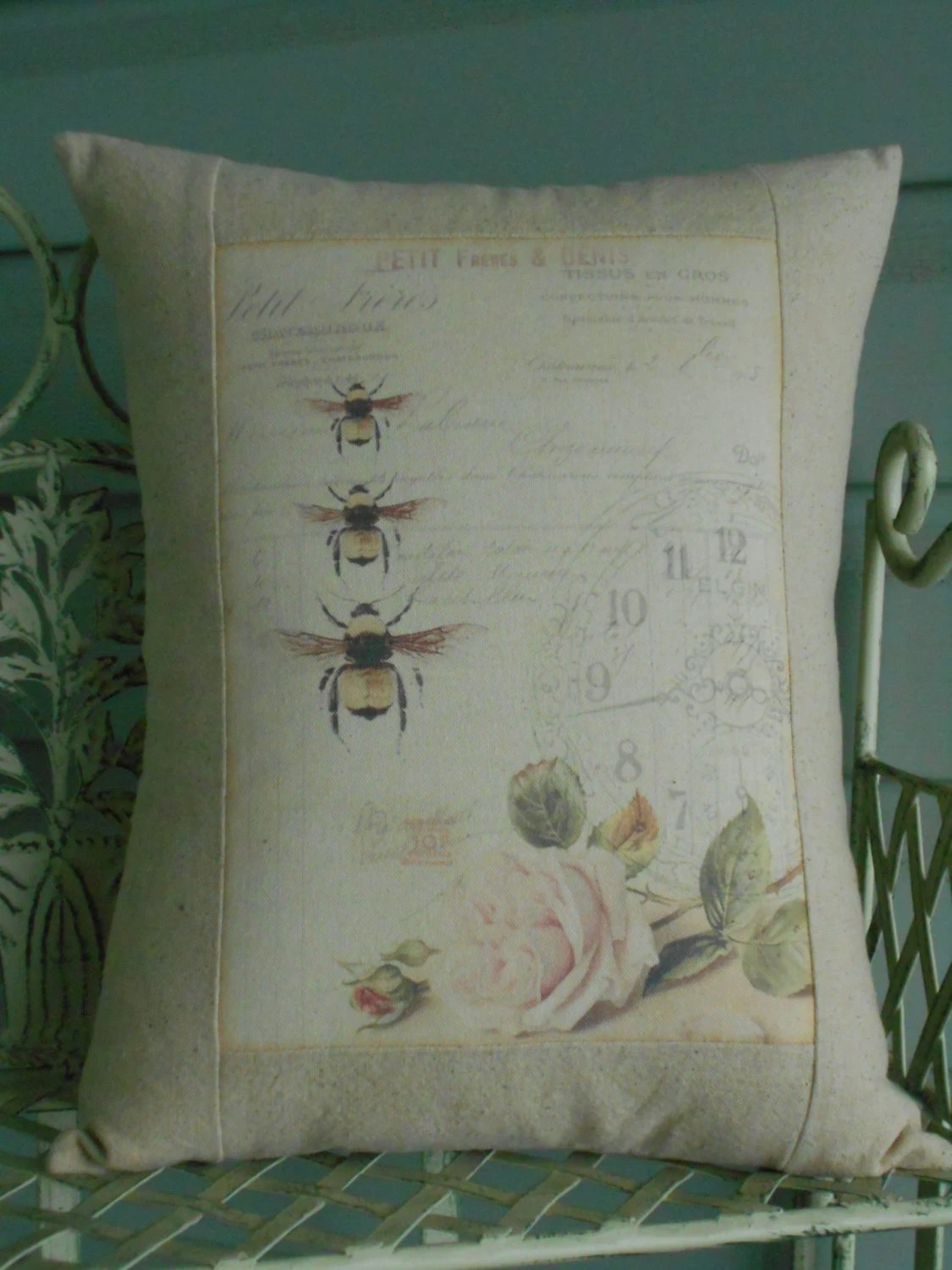 French Bee Shabby Chic Pillow Cover with Pillow Form French