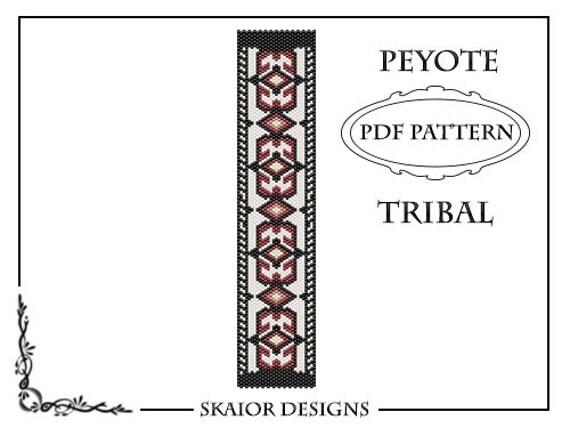 Items similar to Peyote Bead Pattern Bracelet Tribal