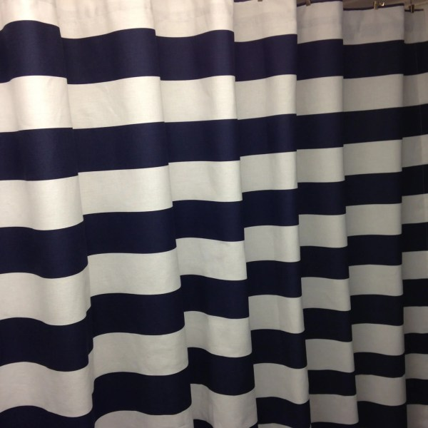 Navy Blue And White Shower Curtain 3 Wide Horizontal