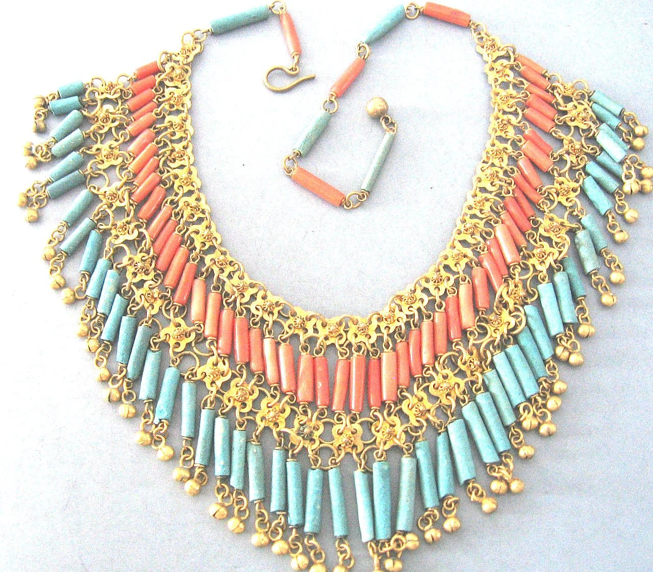 Stunning Art Deco Egyptian Genuine Coral Turquoise Clay Vintage Antique Festoon Vintage Necklace Art Deco Jewelry - GypsyRoadStudio
