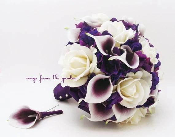 Brautstrau echten Hauch Picasso Callas weie Rosen  lila