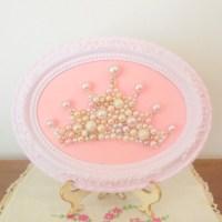 Pearl princess crown art Mosaic wall art Pastel pink frame