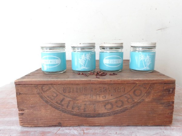 Vintage Glass Spice Jars With Pastel Blue And White Labels