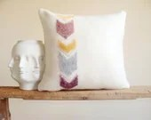 Free Shipping/Chevron Arrow Wool Pillow Cover/Needle Felted/ Off White/Golden Honey/Grey/Cinamon/Brown/ONE OF A KIND/New Collection - madebyzigzag