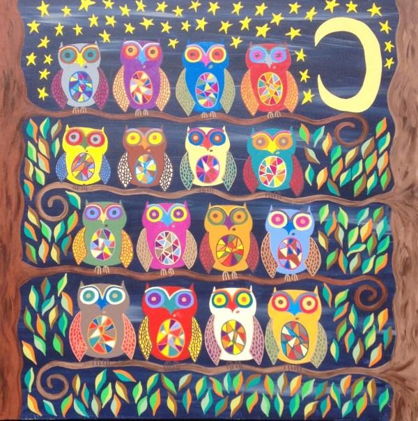 Kerri Ambrosino Mexican Folk Art Print Owls Night Moon